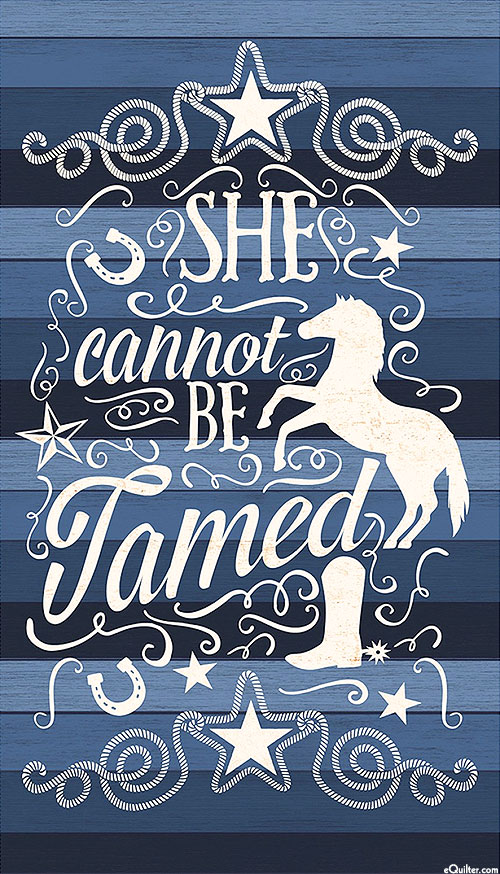 "She Cannot Be Tamed - Cadet Blue - 24"" x 44"" PANEL"