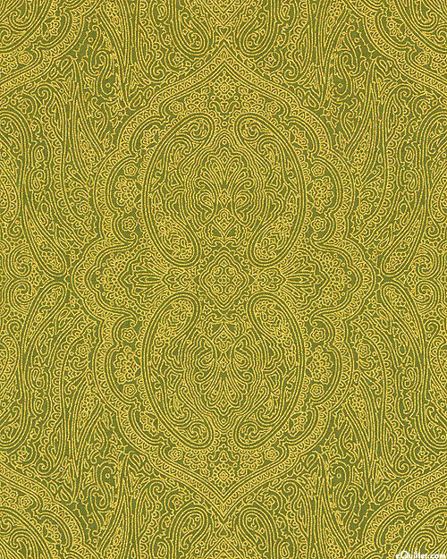 Merry & Bright - Paisley Scroll - Moss/Gold