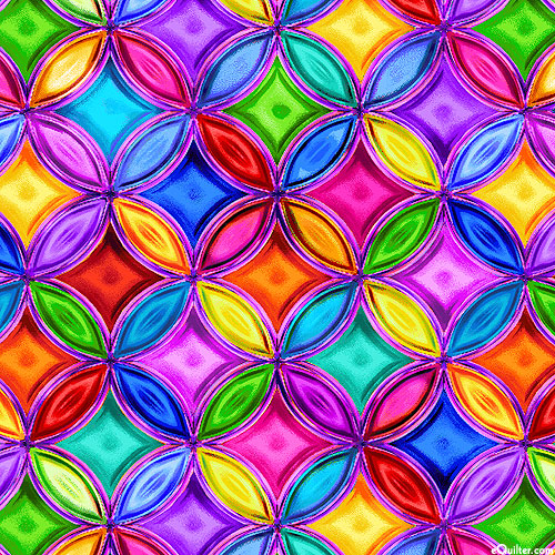 Rainbow Rose - Stained Glass Circles - Multi - DIGITAL PRINT