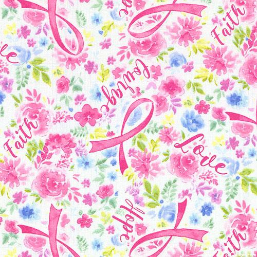 Pink Ribbon - Courage, Faith & Love - White