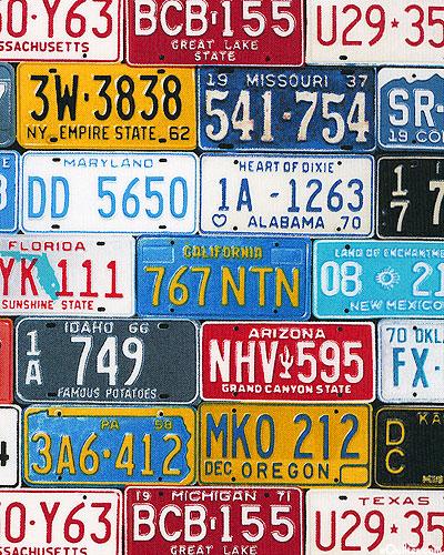 Planes,Trains & Automobiles - License Plates - Navy