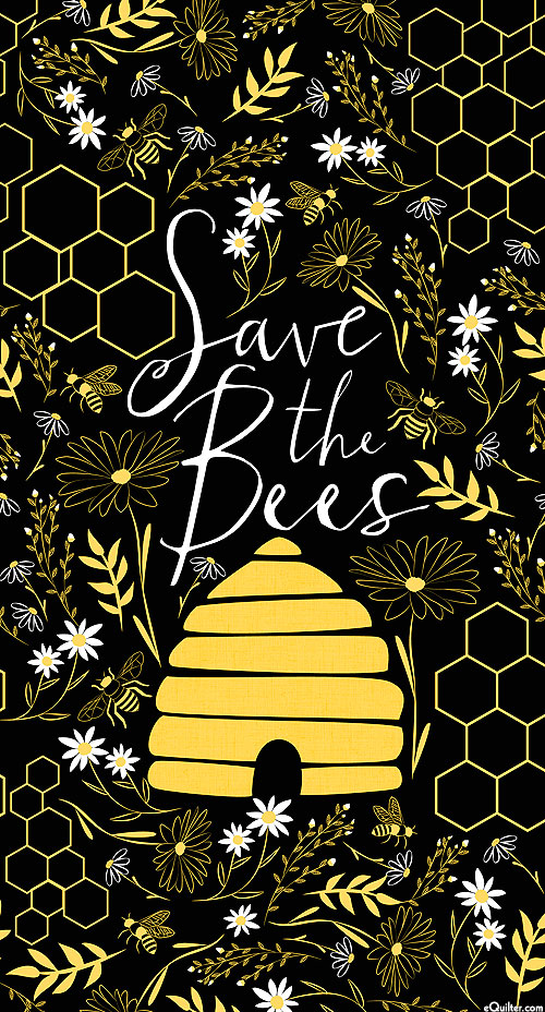 "Save the Bees - Honeybee Hive - Black - 24"" x 44"" PANEL"