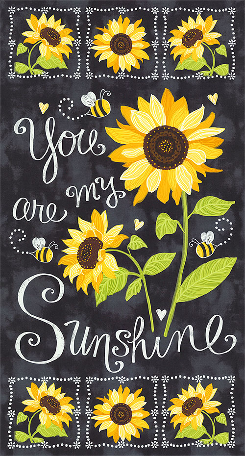 "You Are My Sunshine - Chalkboard Sunflowers - 24"" x 44"" PANEL"