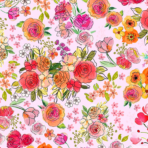 Sew Floral - Garden of Roses - Retro Pink