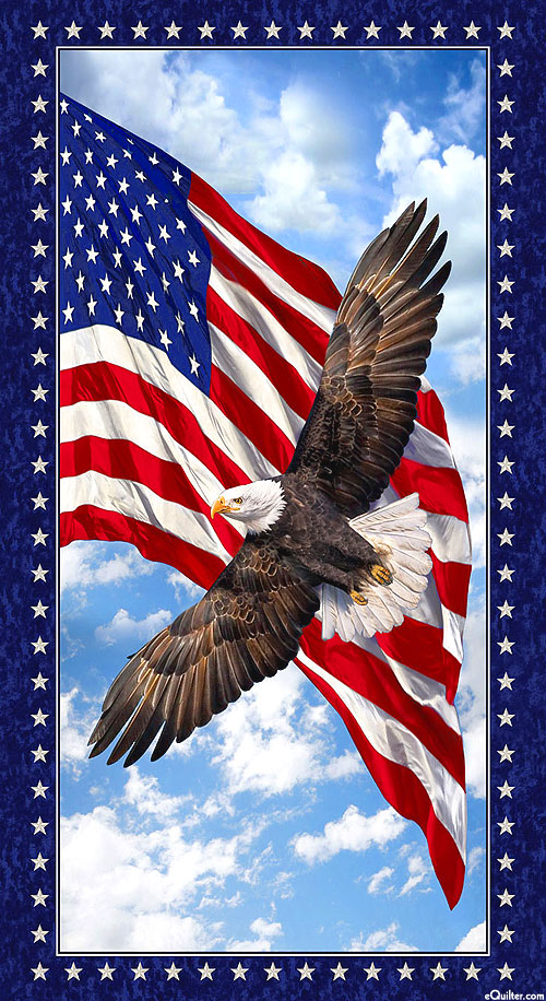 """Land of the Free - Old Glory Eagle - Navy Blue - 24"""" x 44"""" PANEL"""