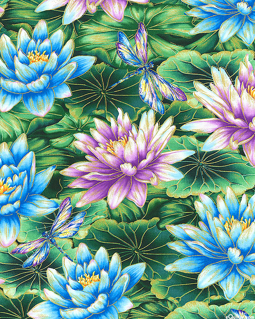 Water Dance - Lily Pads & Lotus Flowers - Emerald/Gold