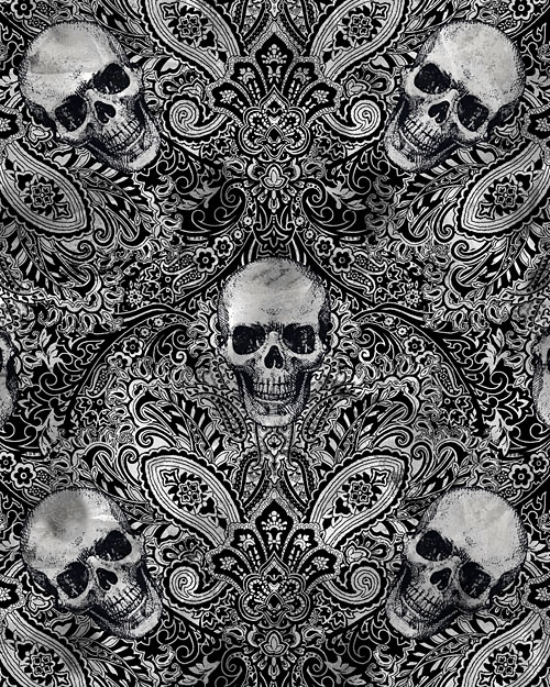 Wicked Fog - Paisleys & Skulls - Black