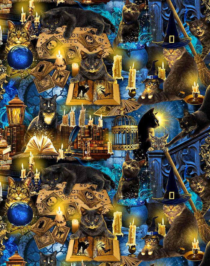 Mystical Meow - Ouija Kitties - Steel Blue - DIGITAL PRINT