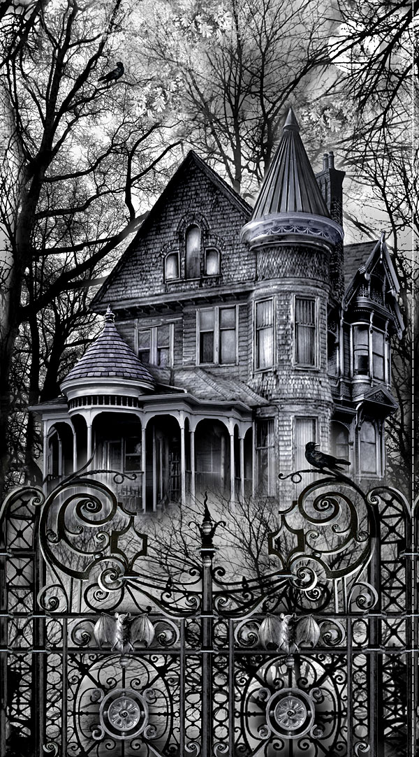 """Wicked Eve - Wicked Haunted House - Gray - 24"""" x 44"""" PANEL"""