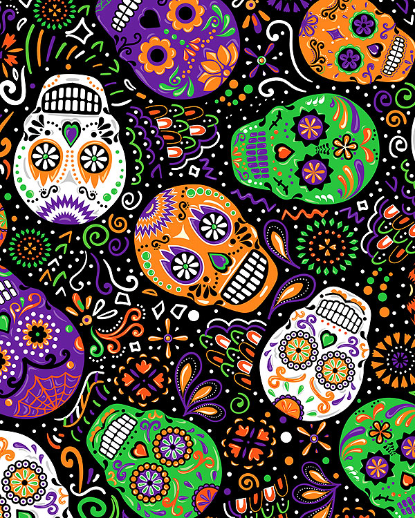 All Eyes on You - Day of the Dead Mardi Gras Skulls - Black/Glow
