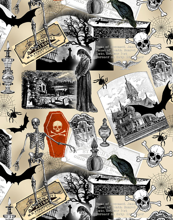 Nevermore - Spooky Collage - Warm Tan