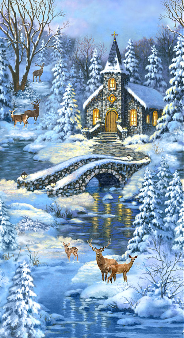 """Winter's Peace - Church in the Forest - Blue - 24"""" x 44"""" PANEL"""