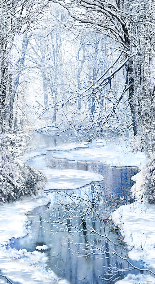 """Winter Hike - Quiet Winding River - Frost Blue - 24"""" x 44"""" PANEL"""