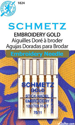 Schmetz Gold Embroidery Machine Needles - Size 75/11