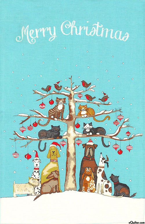 Christmas Cats & Dogs - Tea Towel - COTTON