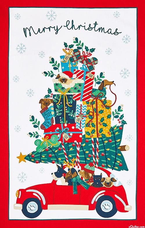 Hound Dog Going Home for Christmas - Tea Towel
