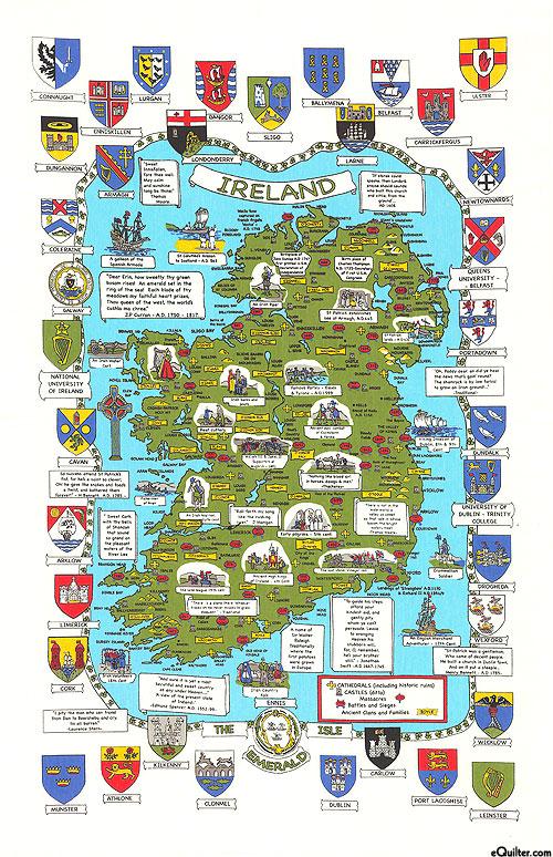 Maps & Crests of Ireland - Tea Towel