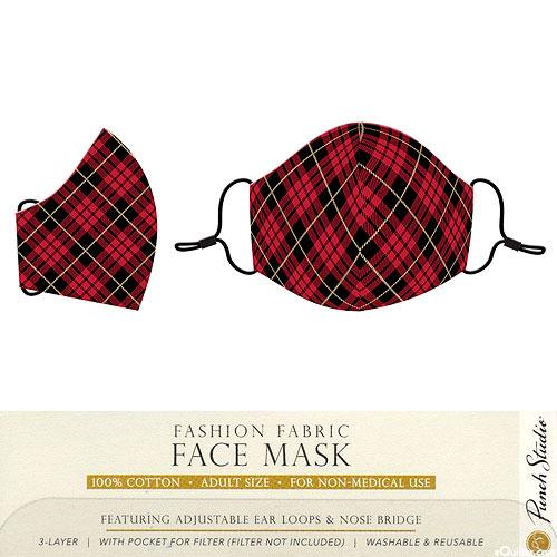 Fashion Fabric Face Mask - Festive Plaid
