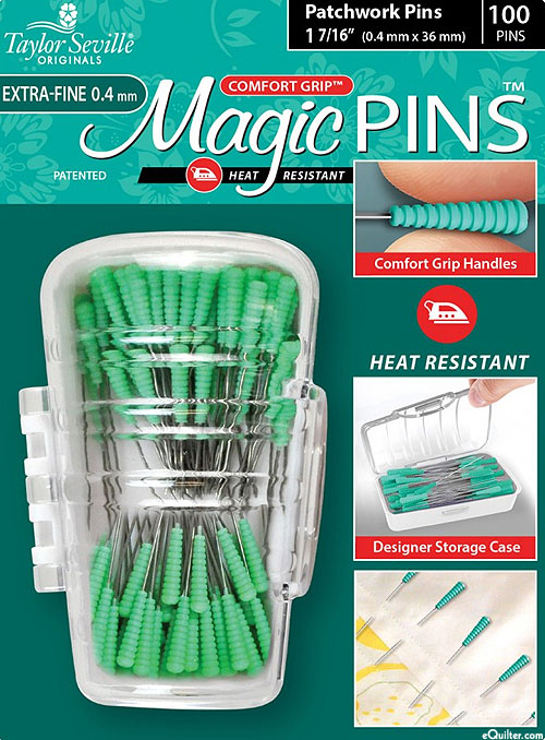 Comfort Grip Magic Patchwork Pins - Extra Fine - 100 Count