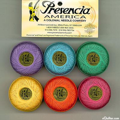 Presencia Finca Perle Cotton Size 8 Sampler - Mardi Gras