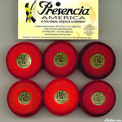 Presencia Finca Perle Cotton Size 8 Sampler - Scarlet