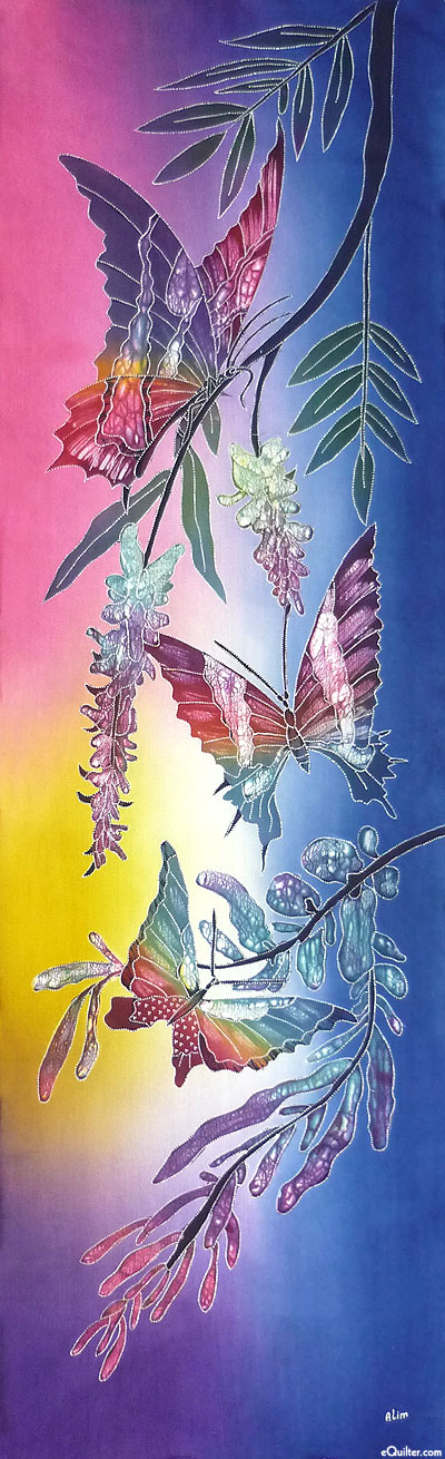 """Wisteria & Butterfly - Long Banner - Sapphire - 18"""" x 59"""""""