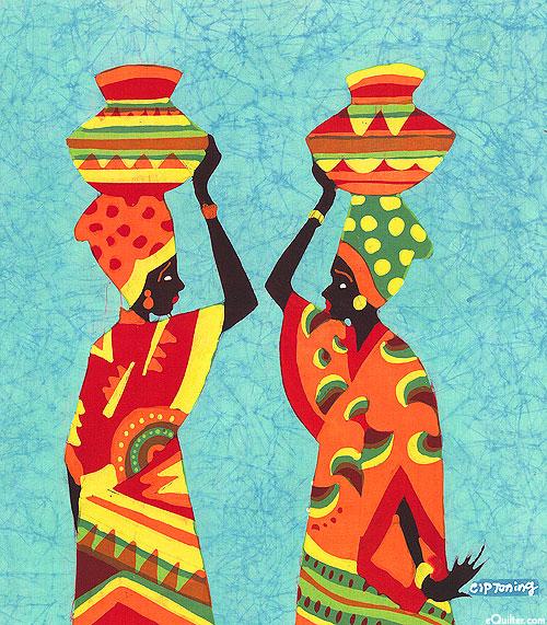 """Exchanging Gossip - 19 1/2"""" x 17 1/2"""" - Hand Painted Batik Panel"""