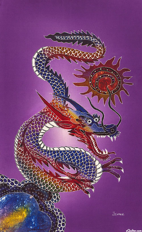 "Chinese Dragon - 18"" x 28"" - Purple"