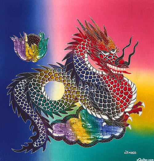 "Fireball Dragon - Multi - 17-1/2"" x19""- Hand Painted Batik Panel"