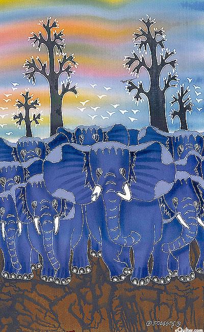 "Herd of Elephants - 17"" x 28"" - Hand Painted Batik Panel"