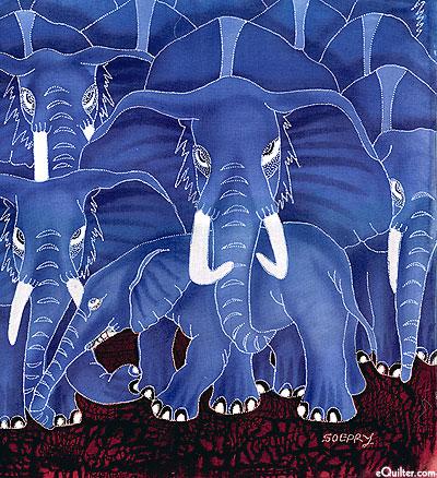 "Elephants on the Move - 17"" x 19"" - Hand Painted Batik Panel"
