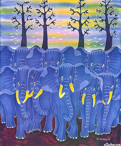"Elephant Herd - 28"" x 36"" - Hand Painted Batik Panel"