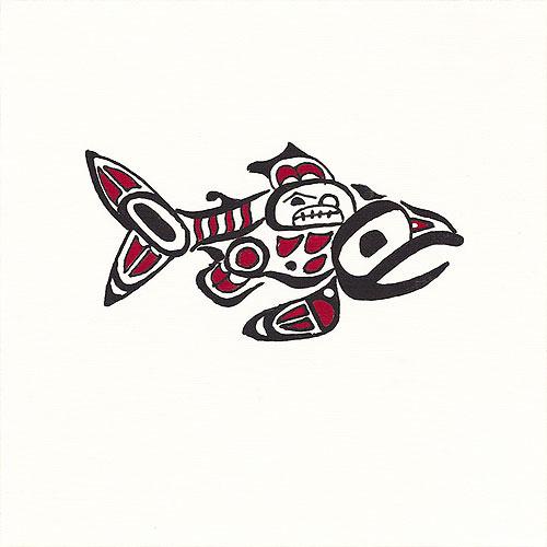 "Pacific Northwest Salmon - 10"" x 10"" - Hand Painted Batik Panel"