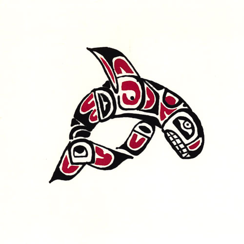 "Pacific Northwest Orca Whale -10"" x 10"" Hand Painted Batik Panel"