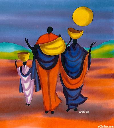 "Traveling Women - 18"" x 20"" - Hand Painted Batik Panel"