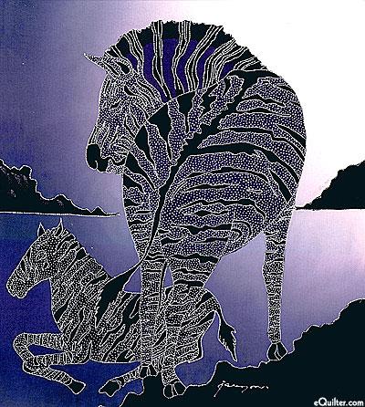 "Wild Zebras - 19"" x 18"" - Hand Painted Batik Panel"