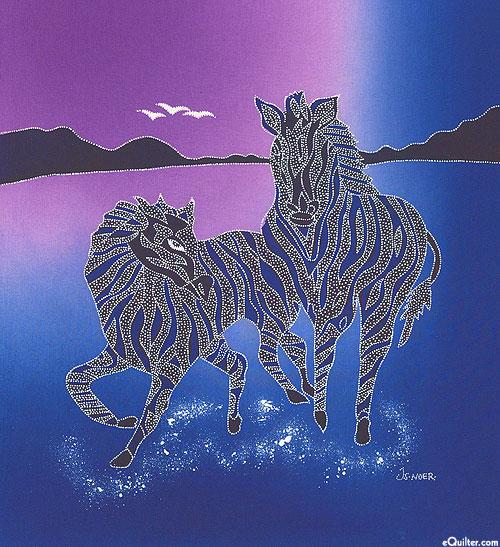 "Zebra Trot - 18"" x 20"" - Hand Painted Batik Panel - Violet"