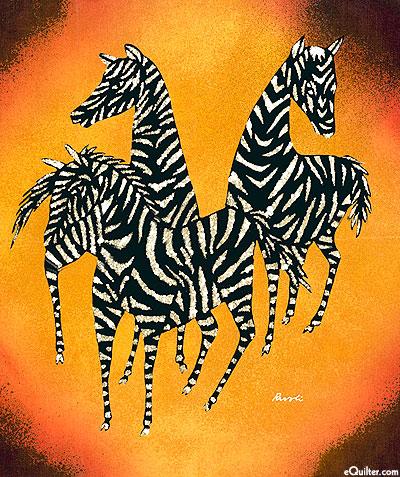 "Zebra Gathering - 18"" x 20"" - Hand Painted Batik Panel"