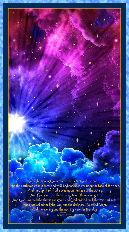 "In the Beginning - Genesis 1 - Cobalt Blue - 24"" x 44"" PANEL"