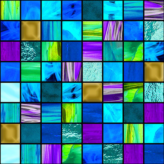 How Sweet the Sound - Stained Glass Squares - Blue - DIGITAL