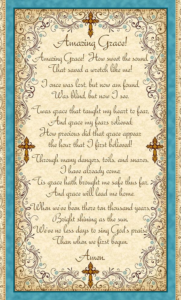 "Amazing Grace - Inspiring Hymn - Sand - 24"" x 44"" PANEL"