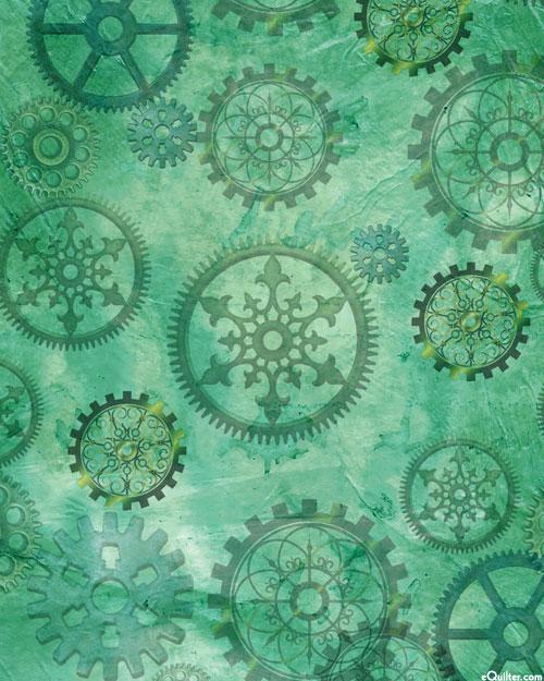 Steampunk Halloween - Gears - Jade - DIGITAL PRINT