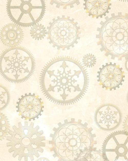 Aquatic Steampunkery - Gears - Ivory - DIGITAL PRINT