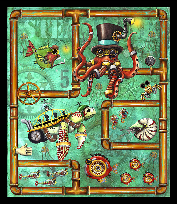 "Aquatic Steampunkery - Deep Dive - Jade - 36"" x 44"" PANEL"