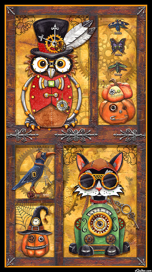 "Steampunk Halloween - Clockwork Creatures - 24"" x 44"" PANEL"