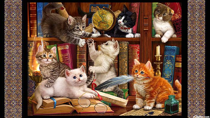 "Literary Kitties - Library Cats - Black - 24"" x 44"" PANEL"