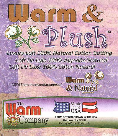 "Warm & Plush Batting - 100% Natural Cotton - 90"" Wide"