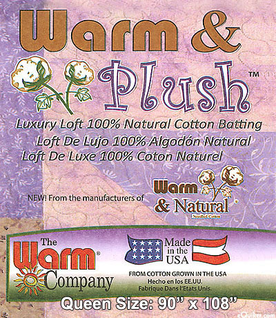 "Warm & Plush Batting - 100% Natural Cotton - Queen 90"" x 108"""