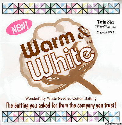 "Warm & White Needled Batting - Cotton/Poly - Twin 72"" x 90"""