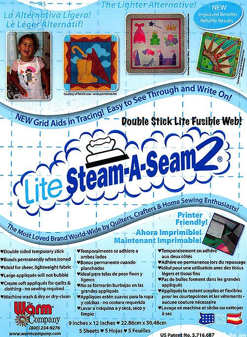 """Steam-A-Seam 2 Lite - Double Stick Fusible Web - 9"""" x 12"""""""
